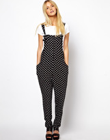 Asos Dungarees in Spot Print with Slouch Back Detail