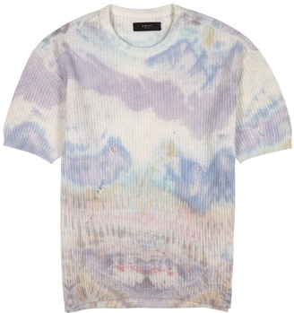 Amiri Tie-dyed distressed cashmere T-shirt
