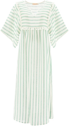 Tory Burch STRIPED LINEN CAFTAN DRESS M White, Green Linen