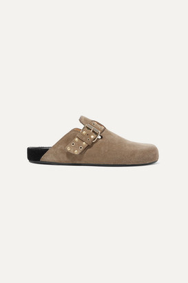 Isabel Marant Mirvin Studded Suede Mules - Taupe