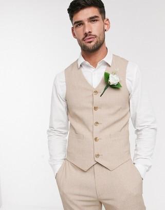 Asos DESIGN wedding skinny suit suit vest in crosshatch in camel