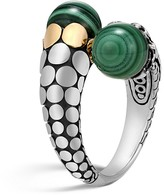 John Hardy 18K Yellow Gold and Sterling Silver Dot Bypass Ring with Malachite