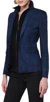 Akris Punto Suede One-Button Blazer w/Knit Vest, Navy
