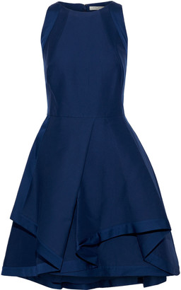 Halston Flared Cotton And Silk-blend Mini Dress