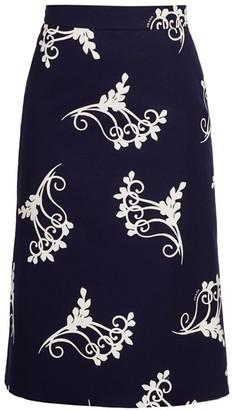 Prada Scroll Print A-Line Midi Skirt