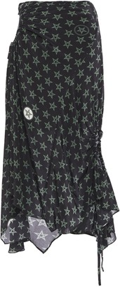 Preen Line Asymmetric Gathered Printed Crepe De Chine Midi Skirt