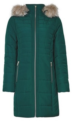 Dorothy Perkins Womens Dark Green Faux Fur Hood Padded Coat, Green