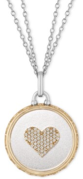 """Tokens by Hallmark Diamonds Mother of Pearl & Diamond Heart Disc Double Chain Love pendant (1/10 ct. t.w.) in Sterling Silver & 14k Gold, 16"""" + 2"""" extender"""