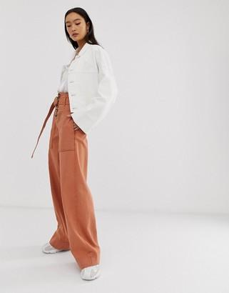 Asos Design DESIGN wide leg jeans with belt detail in terracotta wash-Brown