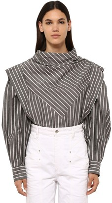 Isabel Marant Welly Striped Cotton Blend Poplin Shirt