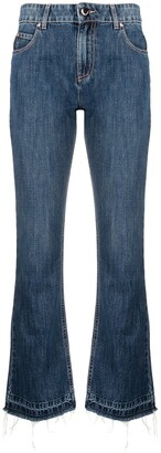 RED Valentino Logo-Patch Cropped Denim Jeans