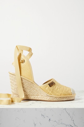 Fendi Logo-jacquard Canvas Wedge Espadrilles - Sand