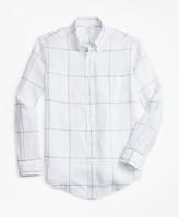 Brooks Brothers Milano Fit Large Windowpane Irish Linen Sport Shirt