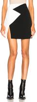 Thierry Mugler Crepe Bicolor Mini Skirt in Black,White.