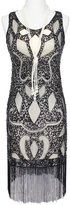 Vikoros 1920s Art Deco Great Gatsby Flapper Inspired Beaded Sequined Dress