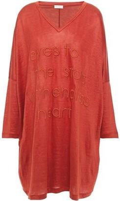 Brunello Cucinelli Embroidered Slub Linen And Silk-blend Jersey Tunic