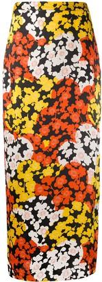 McQ Floral-Print Satin Maxi Skirt