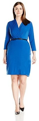 Single Dress Women's Plus Size Faux Wrap Ity Knit W/Slider Belt