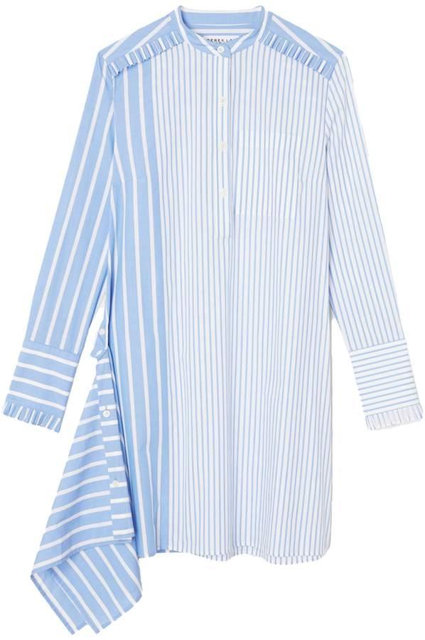 Derek Lam 10 Crosby Asymmetrical Shirtdress with Ruffle Detail in Blue/White
