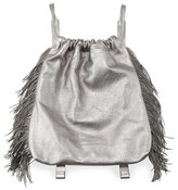 Brunello Cucinelli Drawstring Fringe Leather Backpack, Gray