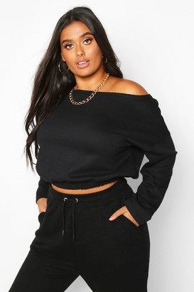 boohoo Plus Basic Slash Neck Drop Shoulder Sweat