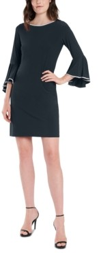 MSK Rhinestone-Trim Bell-Sleeve Dress