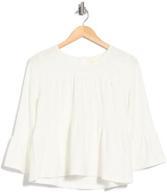 MelloDay Tiered Textured Back Button Back Knot T-Shirt