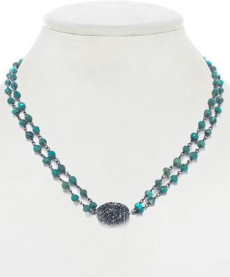 Rachel Reinhardt Plated Silver Turquoise & Crystal Necklace