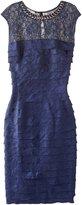 London Times Women's Pearl Neck Shimmer Shutter Sheath Dress