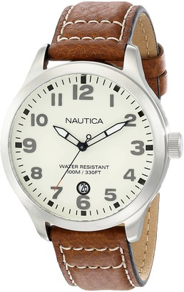 Nautica Men's N09560G BFD 101 Stainless Steel Watch with Brown Leather Band