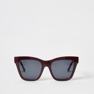 River Island Womens Dark Red chain embossed glam sunglasses