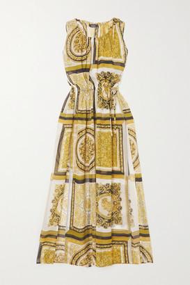 Versace Printed Silk-georgette Maxi Dress - Gold