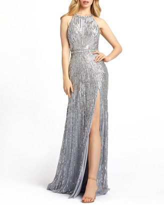 Mac Duggal Starburst Sequin Halter Sheath Gown