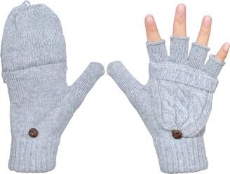 Ehsbuy Women's Winter Gloves Warm Wool Knitted Convertible Fingerless Mittens (Gray)