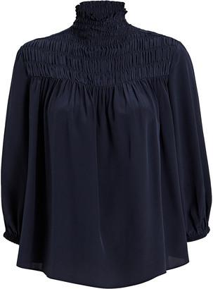 Frame Smocked High Neck Silk Blouse