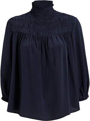 Frame Smocked High Neck Silk Blouse