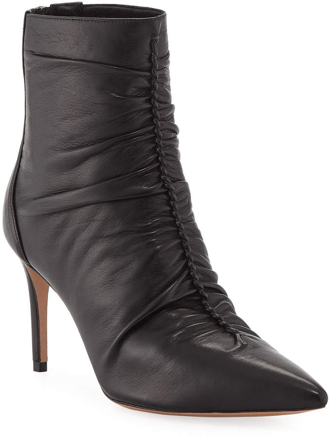 Alexandre Birman Suzana Ruched Leather Booties