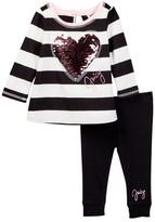 Juicy Couture Sequin Heart Applique Wide Stripe Tunic & Legging Set (Toddler Girls)