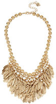 Betsey Johnson Feather and Crystal Bib Frontal Necklace