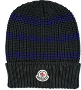 Moncler Men's Striped English Rib-Knit Virgin Wool Beanie-GREEN, BLUE