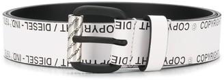 Diesel Logo Print Leather Belt