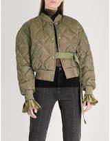 Mo&Co. Baseball satin-down bomber jacket