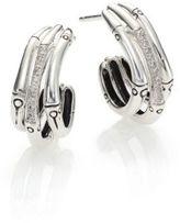 John Hardy Bamboo Diamond & Sterling Silver Triple Hoop Earrings/0.6