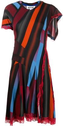 Koché Stripe Print Asymmetric Dress With Lace Detail