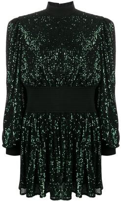 Balmain Pleat-Detail Sequinned Dress