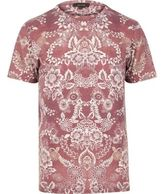 River Island MensDark orange floral print t-shirt