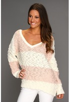 Free People Songbird Rugby Pullover (Ivory/Ballet) - Apparel