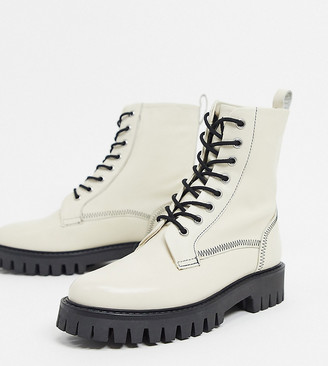 ASRA Exclusive Billie lace up flat boots with stich detail in bone leather