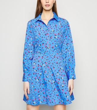 New Look Floral Long Sleeve Shirt Dress