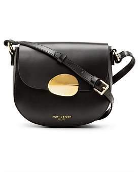 Kurt Geiger London 690-Petal Sm Saddle Bag-Black-Leather